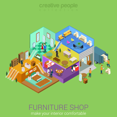 Flat 3d isometric furniture shop interior mall business concept vector. Bedroom living dining room table sofa stool chair mirror carpet cupboard locker indoor interior floors with walking shoppers.