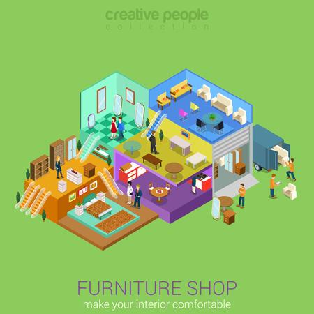 Piso 3d isométrica tienda de muebles Interior de la alameda concepto de negocio vectorial. Dormitorio salón comedor sofá tabla silla taburete alfombra espejo armario armario pisos interiores interiores con los compradores para caminar. Ilustración de vector