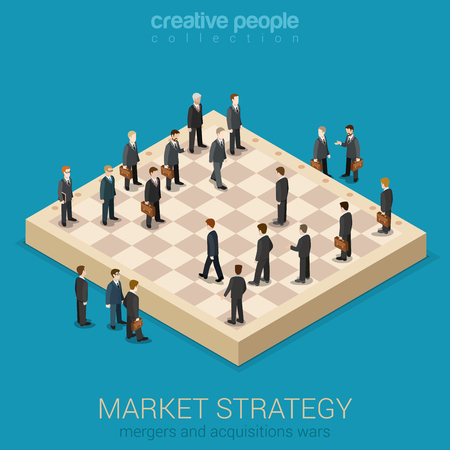 business strategy: Corporate business market strategy flat style 3d isometric Illustration