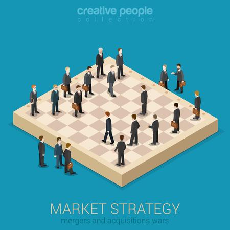 stratégie de marché des entreprises d'entreprise de style plat 3d isométrique Vecteurs