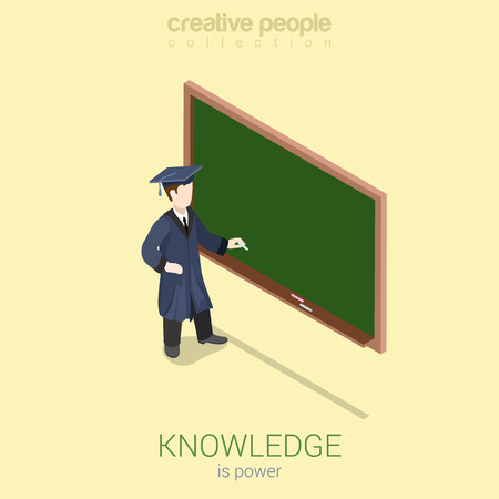 unrecognizable person: Knowledge gaining university high school graduation flat 3d web isometric infographic concept vector. Young student stands over empty blank dark blackboard with chalk. Creative people collection.