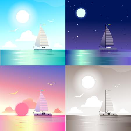 Sunset landscape vector: Flat phong cảnh đại dương du thuyền biển du lịch mùa hè cảnh kỳ nghỉ được thiết lập. biểu ngữ web phong cách thiên nhiên bộ sưu tập ngoài trời. Ánh sáng ban ngày, ban đêm ánh trăng, ngắm cảnh hoàng hôn, retro cổ điển bức tranh màu nâu đỏ.
