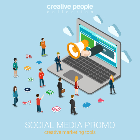 promotion icon: Social media marketing online promotion flat 3d web isometric infographic technology concept vector. Hand loudspeaker sticks big laptop micro people around service icons. Creative people collection.