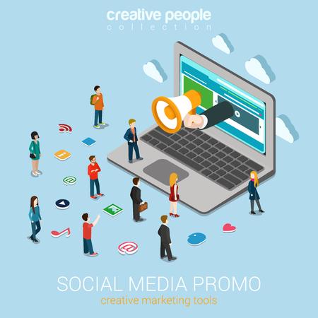 Social media marketing promoción en línea plana 3d web isométrica vector de concepto de tecnología de infografía. El altavoz de mano pega a las personas micro portátiles grandes alrededor de los iconos de servicio. Colección de personas creativas.