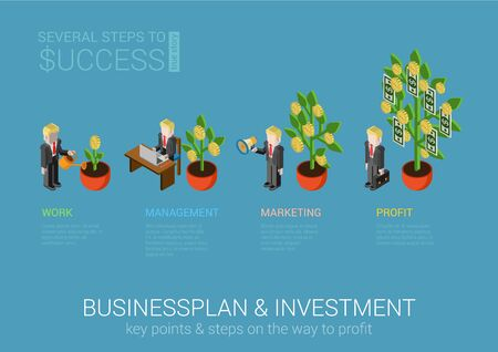 business development: Flat 3d isometric concept web infographic businessplan and investment process. Businessman start-up planting plant sprout hard work development promotion marketing growth business success money tree.