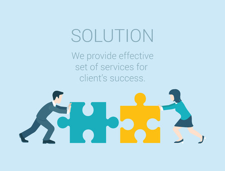business solution: Flat style modern infographic business solution concept. Conceptual web illustration businessman and businesswoman characters connecting puzzle pieces.