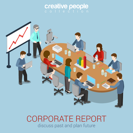 teamwork concept: Office meeting room report business collaboration teamwork brainstorming flat 3d web isometric infographic concept vector. Staff around table working with laptop tablet. Creative people collection.