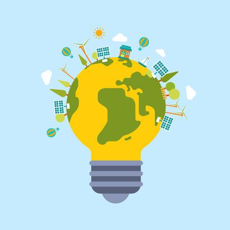 Eco groene energie lamp levensstijl planeet wereld op bol moderne vlakke stijl template. Windmolen en zon batterij, eco vervoer, niet vervuilende fabriek de productie, bomen en wolken. Ecology concepten collectie.