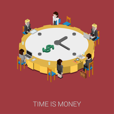 round table: Flat 3d isometric style modern time is money web site infographic concept. Conceptual illustration business people sitting around office conference room table big shaped clock. Round clock like coin.