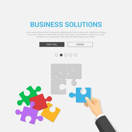 design solutions: Showcase mockup modern flat design vector illustration concept for business solutions. Hand placing puzzle piece top view workplace desktop table. Web banner promotional materials template collection. Illustration