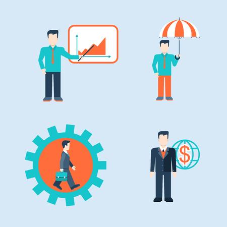 フラット スタイル現代人ビジネス男状況概念テンプレート ベクトル web アイコン セット。男性ビジネスマン生活インフォ グラフィック アイコン。  イラスト・ベクター素材
