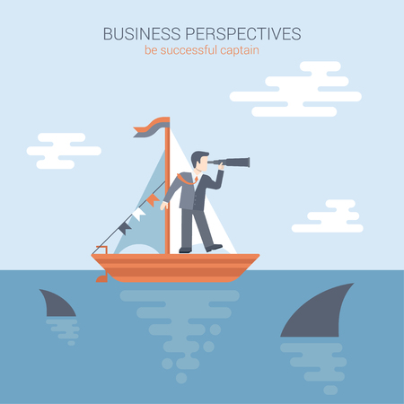 competitions: Flat style modern business perspectives, competition banner poster web template concept vector. Businessman stands in yacht looking through spyglass into the future in ocean teeming with predatory sharks. Illustration