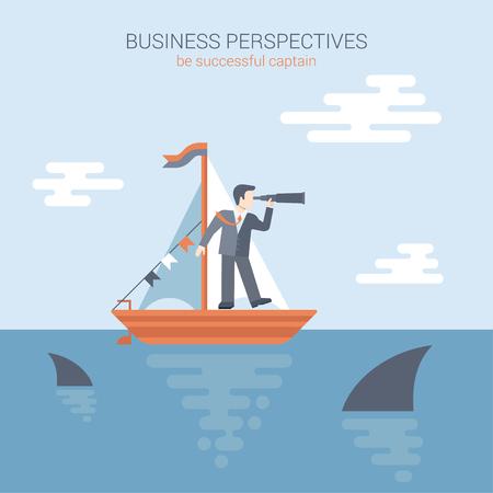 competencia: tipo plano modernas perspectivas de negocio, concurso de carteles bandera concepto Plantilla Web vector. Negocios se coloca en el yate que mira a través del catalejo hacia el futuro en el océano lleno de tiburones depredadores.