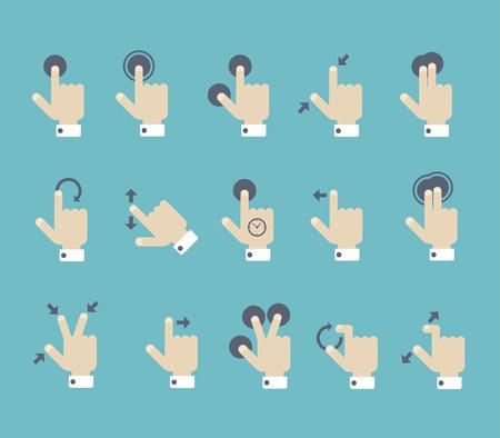 dedo apuntando: Estilo Flat usuario gesto de pantalla táctil multi plantilla del cartel guía manual. Brazos y dedos con indicadores de punto de prensa, flechas de dirección gestos. Vectores