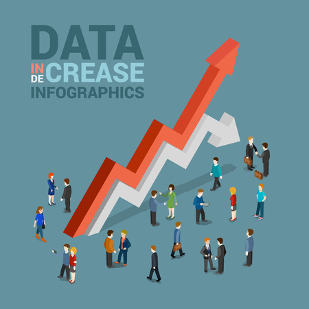stijging gegevens daling infographics template concept van platte 3d web isometrische vector. Zakenman en enorme rode groei witte druppel lijn pijlen. Creatieve mensen collectie. Bouw je infographic.