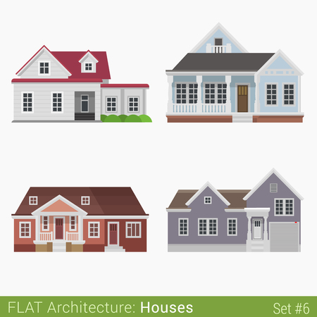 suburb: Flat style modern buildings countryside suburb houses set. City design elements. Stylish design architecture real estate property collection.