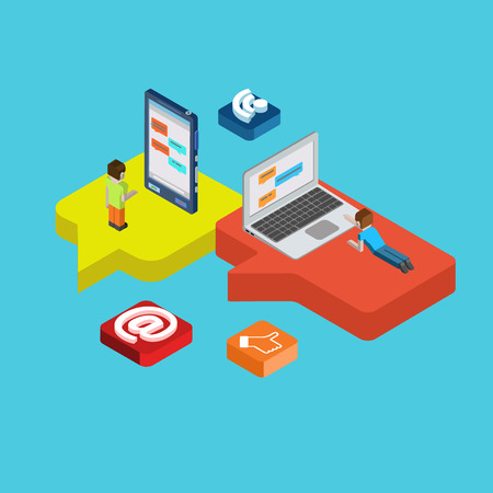 feed up: Chat message social media flat 3d isometric pixel art modern design concept vector. People laying on callout signs and chatting on big laptop desktop. Flat web illustration infographics collection.
