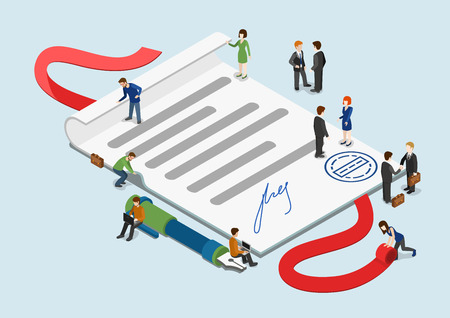 contracts: Flat 3d web isometric signed contract and mini people infographic collaboration concept vector. Little business people around overblown paper sheet with stamp and signature. Creative people collection