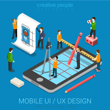 Mobile UI  UX design web infographic concept flat 3d isometric vector. People creating interface on phone tablet. User interface experience, usability, mockup, wireframe development concept. Ilustracja
