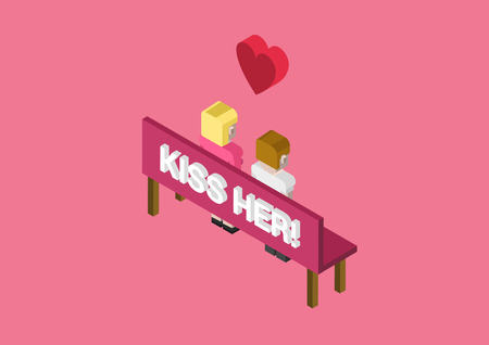 woman male: Kiss her date dating rendezvous flat 3d isometric pixel art modern design concept vector. icons. Web banners illustration website click infographics.