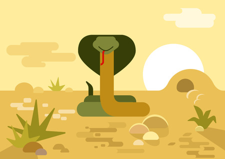 Cobra snake burrow desert flat design cartoon vector wild animals reptiles. Flat zoo nature children collection.