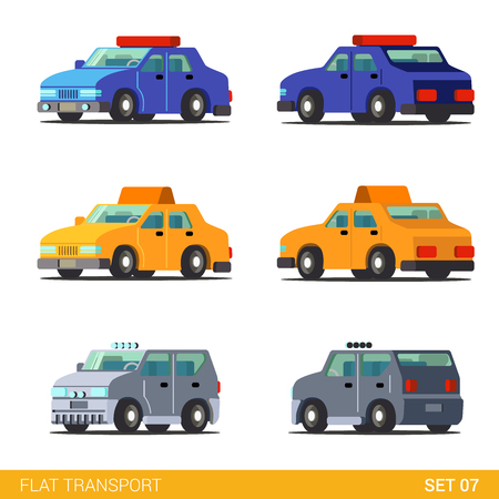 patrol car: Flat 3d isometric funny sedan cars city road transport icon set. Police sheriff patrol car taxi cab offroad SUV truck. Build your own world web infographic collection. Illustration