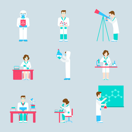 laboratorio: de investigación en ciencias de laboratorio personas y objetos icono de conjunto plana