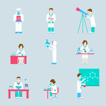 Wetenschappelijk onderzoek lab mensen en objecten flat icon set