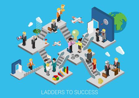 Bedrijf te starten, ladders tot succes vlakke 3d isometrische ontwerp infographic begrip template vector illustratie. Creatie groeiontwikkeling beweging verzekering partnerschap HR doel trofee promotie.