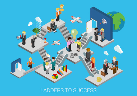 Business start, ladders to success flat 3d isometric design infographic concept template vector illustration. Creation development growth movement insurance partnership HR target trophy promotion. Vettoriali