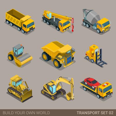 플랫 3D 아이소 메트릭 도시 건설 교통 아이콘을 설정합니다. 굴삭기 크레인 학년 콘크리트 시멘트 믹서 롤러 피트 덤프 트럭 로더 견인 파괴 범 트럭.  일러스트