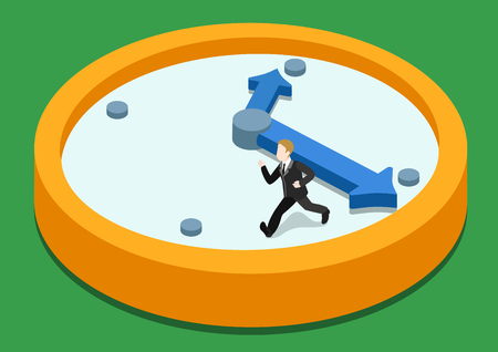 time clock: Time rush flat 3d web isometric infographic concept vector. Business man running away on clock from big hand. Creative people collection.