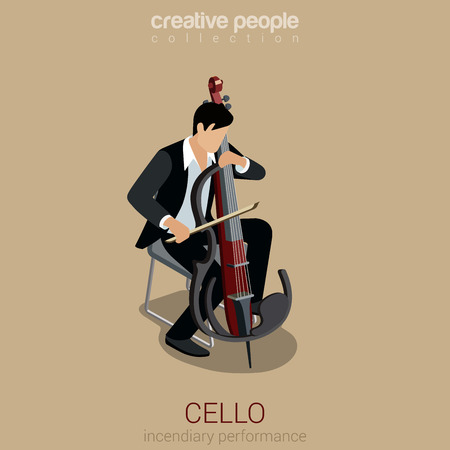 incendiary: Cello performer flat 3d web isometric infographic concept vector. Young male musician plays concept on modern style cello on scene. Incendiary performance. Creative people collection. Illustration
