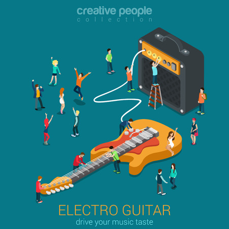 music 3d: Rock acoustic bass guitar amp combo and micro people flat 3d web isometric infographic vector. Rock music equipment concept. Creative people world collection.