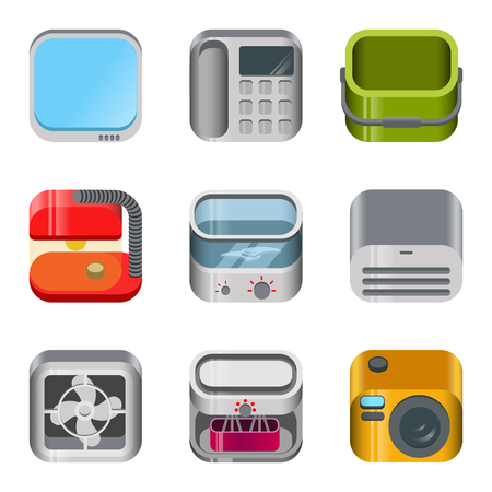 mincer: Home table electronics glossy app dashboard icon vector set. Stylish modern mobile web application icons collection. TV telephone bucket lamp food processor mincer blender fan camera air conditioner. Illustration