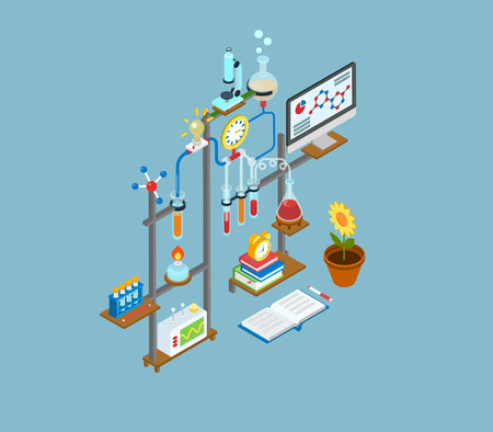 physics: Flat 3d web isometric science research lab, test laboratory experiment equipment infographic concept vector. Physics, chemical, biological chain reaction innovation scientific process icons collage.