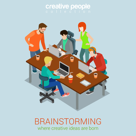 process: Brainstorming creative people flat 3d web isometric infographic concept vector. Advertising agency work process. Teamwork around table laptop, chief, art director, designer, programmer. Illustration