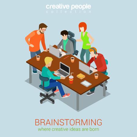 tormenta de ideas: Lluvia de gente creativa plana 3d web isométrica vector de concepto de infografía. Proceso de trabajo agencia de publicidad. Trabajo en equipo en torno portátil mesa, jefe, director de arte, diseñador, programador. Vectores