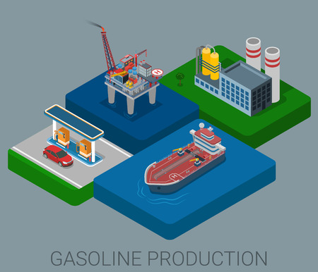 sea tanker ship: Gasoline production process cycle flat 3d web isometric infographic concept vector. Oil extraction sea platform refinery logistics delivery tanker ship gas petrol refill station retail gasoline sale.
