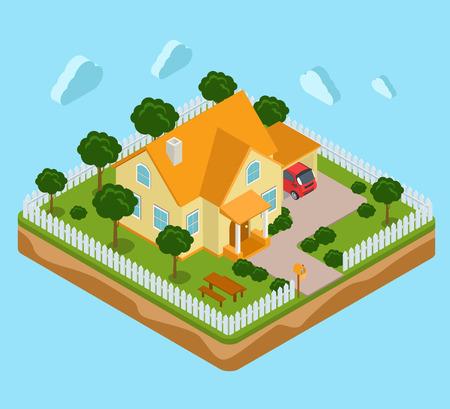Piatto 3d isometrico infografica terra dell'isola icona casa immobiliare concetto di real estate. isometria Web collezione infografica. Vettoriali
