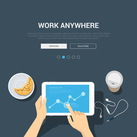 Showcase mockup modern flat design vector illustration concept for work anywhere. Hands touch tablet graphic headphones coffee croissant. Web banner promotional materials template collection.