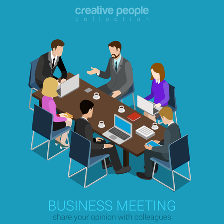Business meeting room team collaboration flat 3d web isometric infographic concept vector. Businesspeople around table working with laptop tablet. Creative people collection.