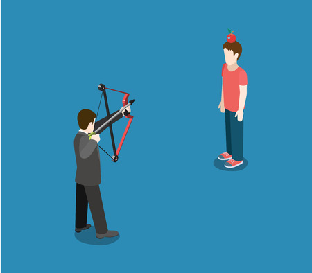 competitor: Business concept aim to competitor target flat 3d web isometric infographic vector. Businessman archer point bow arrow to apple on head. Creative people collection. Illustration