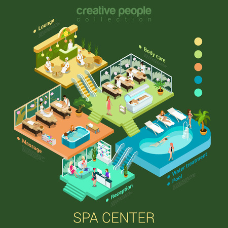 care: Flat 3d isometric abstract spa salon center floor interior departments concept vector. Reception water pool massage body care lounge health lifestyle stairs. Creative relax care people collection. Illustration