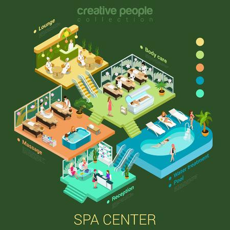 Vlakke 3d isometrische abstract spa salon centrum vloer interieur afdelingen begrip vector. Ontvangst water zwembad massage lichaamsverzorging lounge gezondheidslevensstijl trappen. Creatieve ontspanning zorg mensen collectie. Stock Illustratie