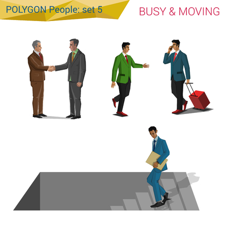 casual business meeting: Polygonal style people on the move set.  Polygon people collection. Illustration
