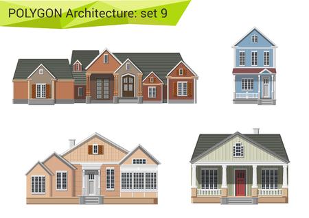 Fachada: Estilo poligonal casas residenciales y edificios fijados. Campo y suburbio elementos de diseño. Polígono colección arquitectura.