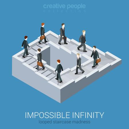 Cercle vicieux impasse boucle infinie 3d isométrique plat web concept d'entreprise de vecteur infographie. Impossible fée labyrinthe fable voie inexistante escalier en illusion d'optique. Collecte de gens créatifs