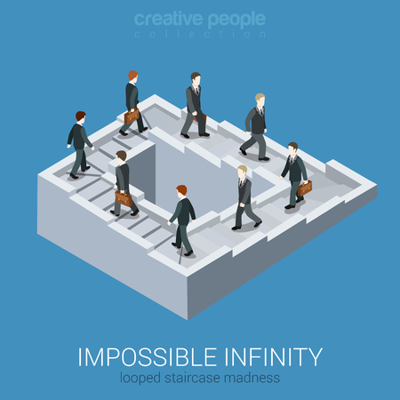 optical illusion: Vicious circle stalemate infinite loop flat 3d web isometric infographic business concept vector. Impossible fairy maze fable nonexistent pathway staircase optical illusion. Creative people collection