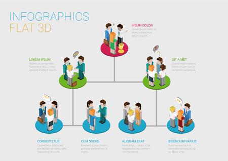 조직: 회사의 기업 부문도 구조 웹 개념 벡터 템플릿의 플랫 3D 아이소 메트릭 인포 그래픽 개념입니다. 사업 사람들의 연결 플랫폼 받침대 그룹. 조직도. 일러스트